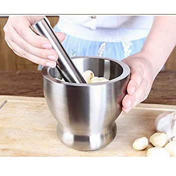 Brushed Finish INC. 18-Ounce//2.25-Cup StainlessLUX 75551 Large Stainless Steel Mortar and Pestle Set//Spice Grinder//Molcajete