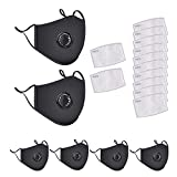 6 Pack Protective Covers with 12 Cotton Filter Sheet,Washable Reusable Protection Cover with Breathing Valve (Black1)