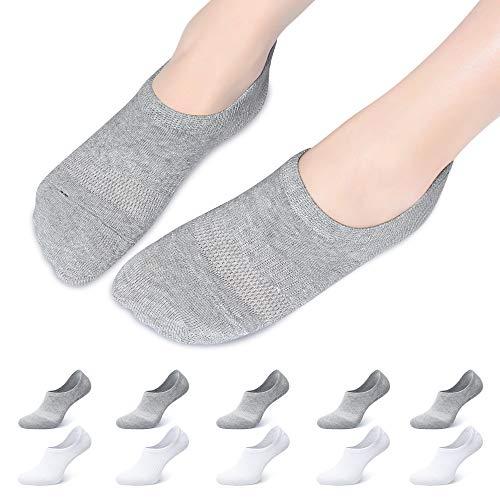 Falechay Calcetines tobilleros Invisibles Mujer Hombre 10 Pares, Calcetines Cortos Verano Algodón Transpirables Silicona Antideslizante Gris/Blanco 47-50