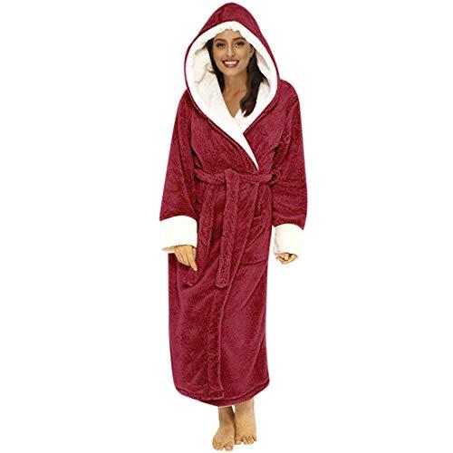 MoneRffi Damen Bademantel Mikrofaser Robe Luxuriöser Bademantel Mikrofaser Bademantel Winter Warm Home Kleidung Langarm Robe Mantel mit Kapuzen Kapuzenmantel(Rot,L)