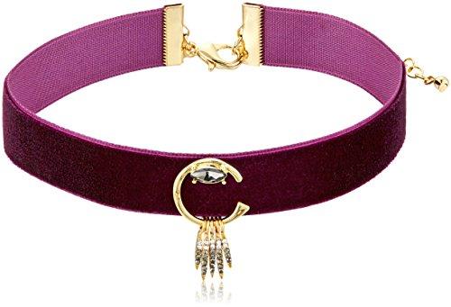 Rebecca Minkoff Peyton Deco Velvet Dark Cherry/Gold Choker Necklace