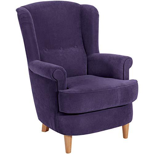 Max Winzer® Ohrensessel Kendra, violett (lila), Velourstoff, Romantisch, Retro, Landhaus, 73 x 89 x 92 cm