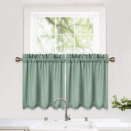 LinTimes Cortinas de café con tejido de gofre, cortinas cortas, cortinas de media ventana, cortinas de nivel para cocina, baño, sala de estar (76 x 60 cm, salvia, juego de 2)