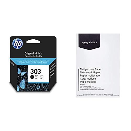 HP 303 T6N02AE Cartuccia Originale, Nero & Amazon Basics Carta da stampa multiuso A4 80gsm, 1 risma, 500 fogli, bianco