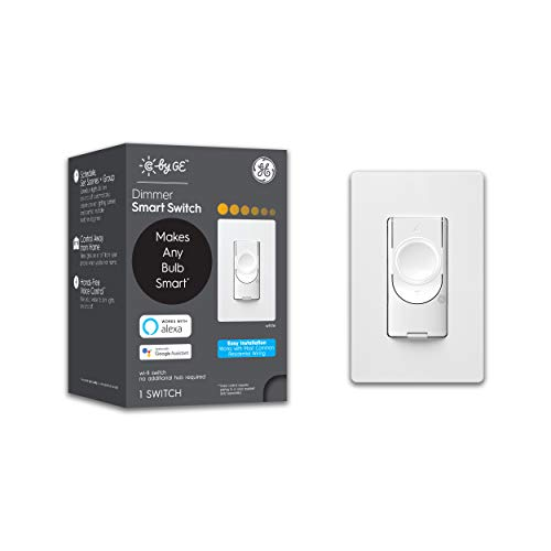 C by GE 3-Wire Smart Dimmer Switch - Compatible with Google Home and Alexa, Dimmer Switches Without Hub, Smart Switch No Neutral Required, Single-Pole/3-Way Smart Switch, White, 1-Pack