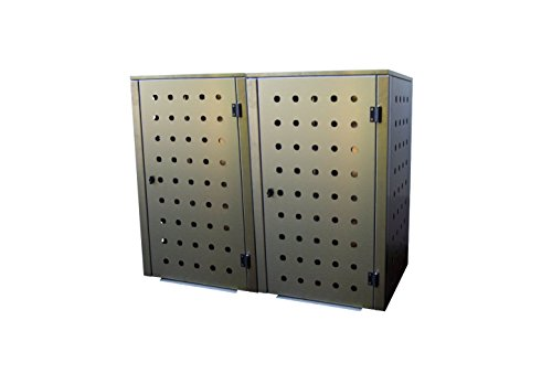 Mülltonnenbox Edelstahl, Modell Eleganza CircB 120 Liter als Zweierbox