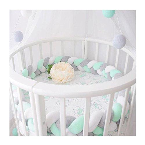 LOAOL Baby Crib Bumper Knotted Braided Plush Nursery Cradle Decor Newborn Gift Pillow Cushion Junior Bed Sleep Bumper (4 Meters, White-Gray-Green)