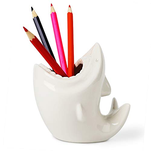 ComSaf Cute Shark Shaped Pen Pencil Holder, White Ceramic Succulent Planter Pots for Home Office Decoration Desk Organization, Set of 1