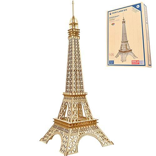 ZHLY Holzpuzzle Bausatz 3D Puzzle Holzbausatz DIY Für Kinder Jugendliche und Erwachsene Eiffelturm