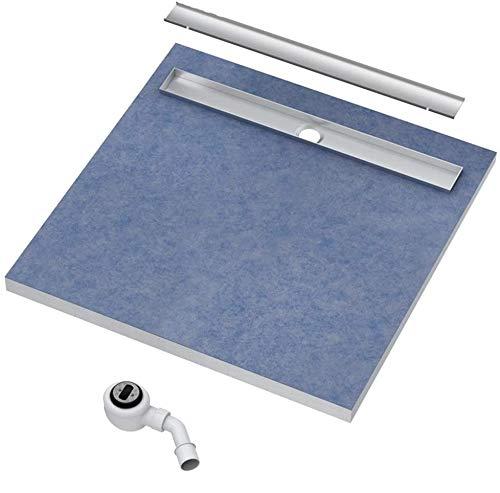 VBChome Duschelement 80x80x5/10,5cm Duschboard Extra Flach Beflisbar Duschrinne 8cm Abdeckung PLATE Ablauf Viega BASE S1