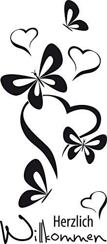 GRAZDesign Wandtattoo Schmetterlinge, Herzlich Willkommen Spruch für Flur/Eingang Wand-Deko mit Selbstklebender Folie (68x30cm / 070 schwarz)