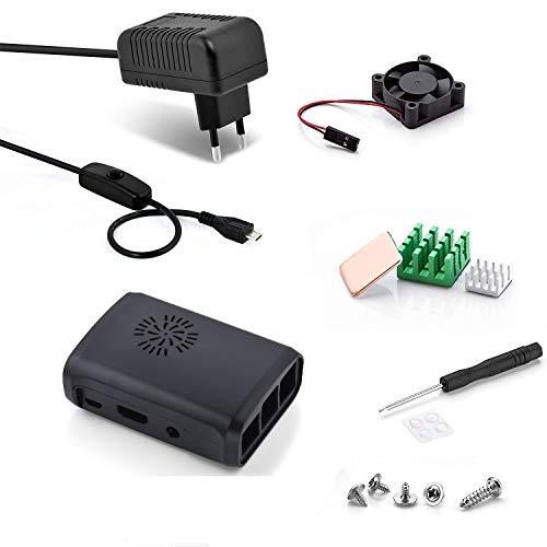 Aukru Negro Caja + Micro USB 5V 3A Cargador con Interruptor + Disipador de Calor + Mini Fan para Raspberry Pi 3 Modelo B, B+