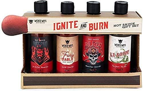 Modern Gourmet Foods - Scharfe Saucen Geschenk-Set - Ignite & Burn Hot Sauce Probier-Set Mit 4 Pikanten Chili-Saucen