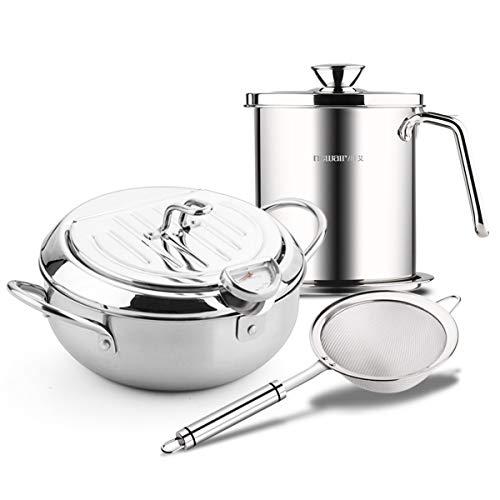 18/8 Stainless Steel Deep Fryer Pot Frying Chicken Pot with Temperature Control Tempura Fryer pan Chip Pan (9.8 * 6in 3.38Quart & 1.7L Filter pot with Filter Spoon)