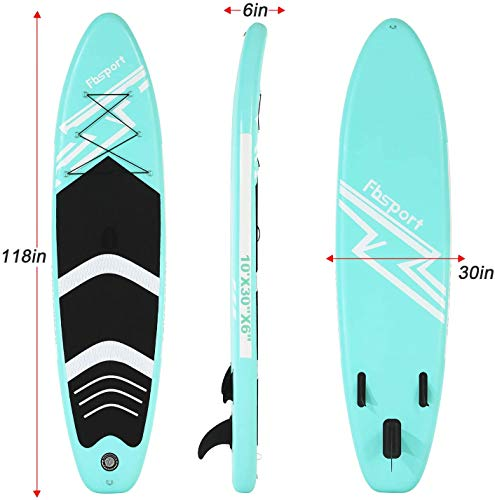 FBSPORT Tavola da SUP, 300×76×15 cm SUP Board, Stand Up Paddle Board Gonfiabile, Tavola da Surf con Pompa ad Aria, Pagaia Regolabile e Accessori, Tavola Unisex Adulto, Tavola Paddle