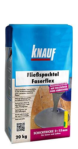 Knauf 47841, 20-kg Masse, Ausgleichs, selbstverlaufend, Hochleistungs, spannungsarm, frostsicher, für 2 15-mm Schichtdicken Fließ-Spachtel Faserflex, zementgrau, 20 kg