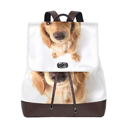 Coosun Damen-Rucksack aus PU-Leder mit lustigem Dackel-Motiv, für Reisen, Schule, Freizeit, Tagesrucksack
