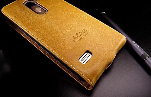 Akira Hand Made [Echt Leder] Handyhülle kompatibel mit LG L Bello Wallet Flip Cover Handgemacht Case Schutzhülle Etui Flip Wallet Pen Hell Braun
