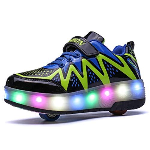 WFSH Patines unisex para niños con luz LED y tecnología telescópica automática, multifuncional, para deportes al aire libre, zapatos deportivos (color: negro, tamaño: 35)