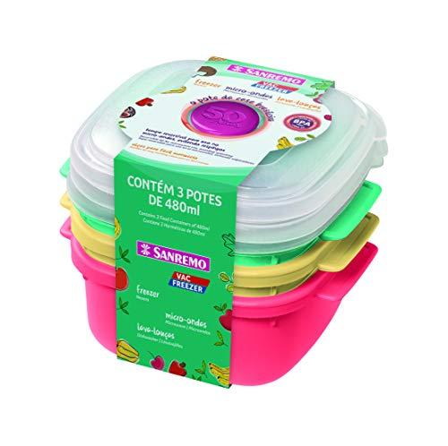 Conjunto Com 3 Potes Plásticos Com Tampa Reversível Sanremo Fundo Coral, Verde E Amarelo E Tampa Cristal