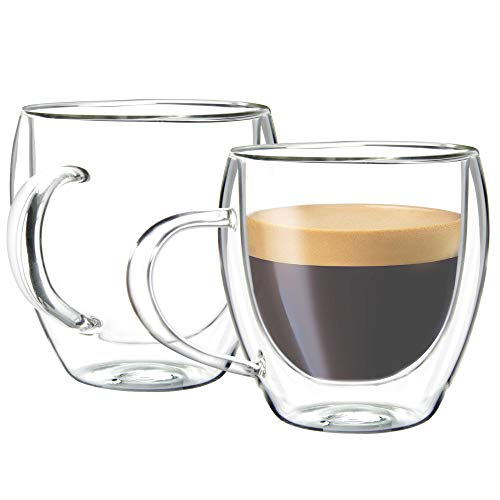 Youngever 2 Pack Glass Espresso Mugs, Double Wall Thermo Insulated Glass Coffee Cups, Glass Coffee Mugs, 5.5 Ounce (Tall)