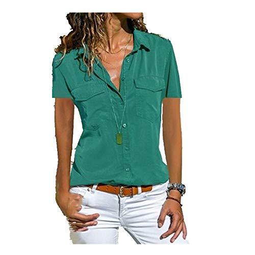 N\P Summer and Autumn Women's Shirt Lapel Short Sleeve Shirt Women's Casual Shirt