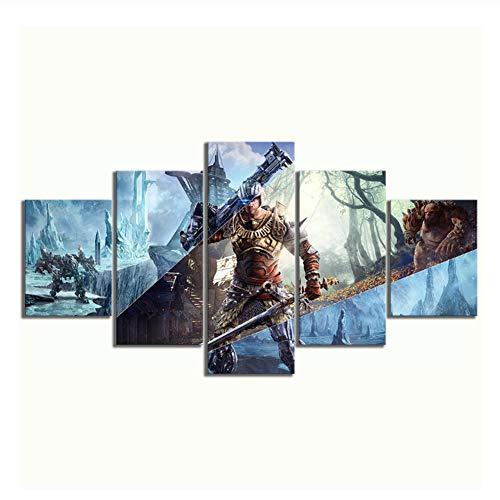 nr Poster Bild Leinwand Kunst gedruckt abstrakt 5 Stück RPG-Spiel Elex Poster Malerei Dekor Wohnzimmer Wand -40x60 40x80 40x100cm Kein Rahmen