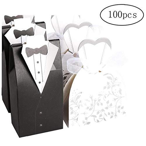 Heall Cle De Tous Favor de la Boda del Chocolate Cajas Novia y el Novio Paquete de Diseño Blanco y Negro de 100 (50 Novias y Novios 50)
