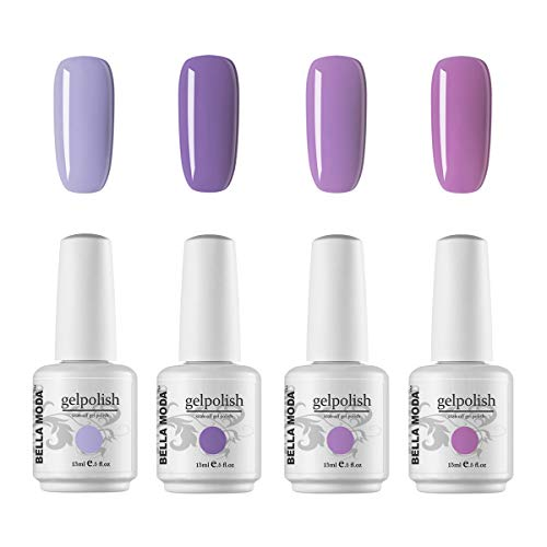 BELLA MODA 15ml Gel Nail Polish Remover Soak Off Gel Polish Purple Pink 4 Colors Set Dried With UV Light BM15