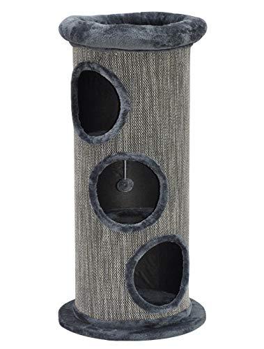 nanook Kratztonne Spieltonne Simba 105 cm - mit Liegemulde - große Öffnungen - stabil mit Bodenplatte - grau