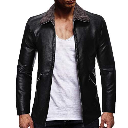 Bomber Jacket Men's Fashionable Pure-Color Locomotive Long Cardigan Sweater Coat Collar Coat Black