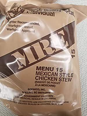 LoJo Surplus 2021 Genuine Military MRE Meals Ready to Eat with Inspection Date 2021 or Newer (Mexican Style Chicken Stew)