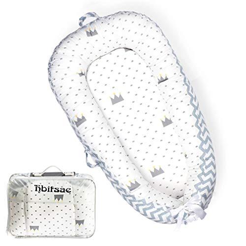 Hbitsae Cama Nido de Bebé Recién Nacido para Acurrucarse, Reductor Protector de Cuna Cama de Viaje, para Dormir Baby Nest Nido bebé Reductor De Cuna Reversible Capullo Multifuncional de Baby