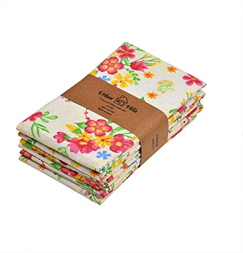 Urban Villa Kitchen Towels,Floral Print Multi Color, Premium Quality,100% Cotton Dish Towels,Mitered Corners,(Size: 20X30 Inch), Highly Absorbent Bar Towels & Tea Towels - (Set of 6)