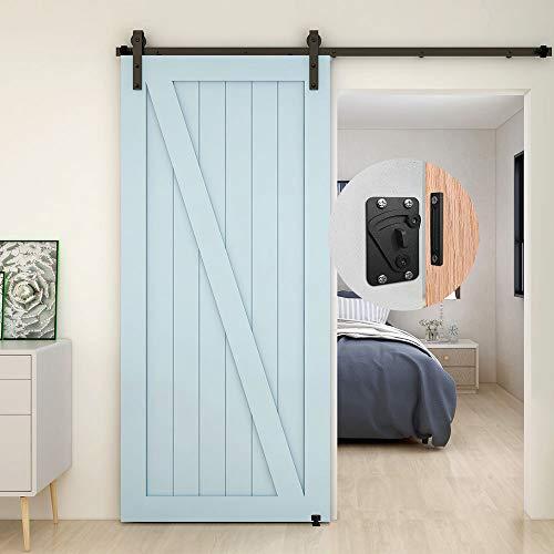 TSMST 5FT/152 - Kit de riel para puerta corredera, kit de riel para puerta de granja resistente, apto para una puerta de madera única, forma de J