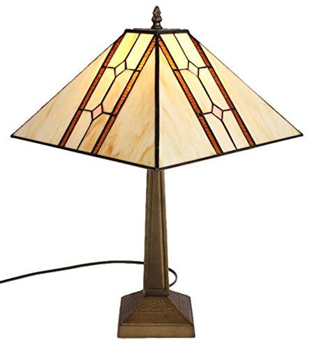 Amora Lighting AM1050TL13 Tiffany Style Mission Table Lamp, 17.7-Inch, Multi