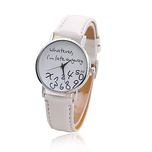 TrifyCore Único Nuevo reloj divertido de la manera Mujeres Hombres Cuarzo analógico Lo que sea, estoy en Whatever,I''m Late Anyway (banda blanca de superficie blanca)