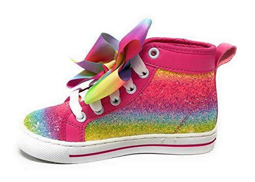 Jojo Siwa Girls Shoes Sneakers High Top Glitter Rainbow Tye Dye with Bow (Rainbow Glitter, 10 Little Kid)