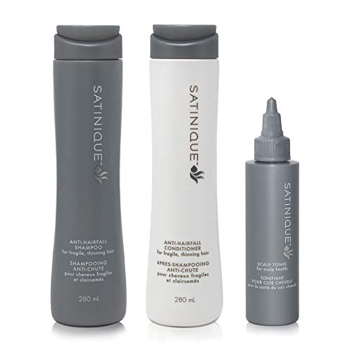 Anti Haarausfall Set von SATINIQUE™ - 1x Anti-Haarausfall-Shampoo 280ml + 1x Anti-Haarausfall-Pflegespülung 280ml + 1x Kopfhaut-Tonikum 80ml - Amway