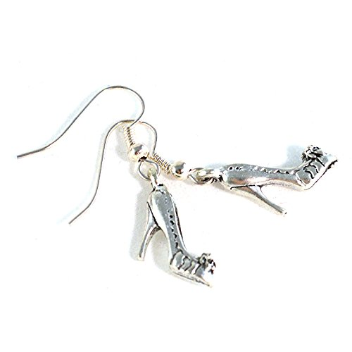 Cinderella Slipper Charm Shoe Earrings on Silver Plated Hooks or Clip Ons