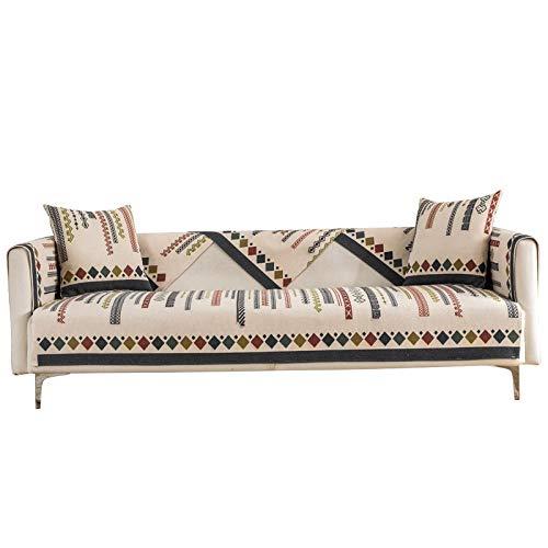 Funda de sofá de decoración bohemia para 2/3/4 plazas, fundas protectoras de sofá boho, estilo étnico con textura tejida para sofá – A_65 x 210 cm