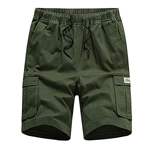 Pantalones Cortos de Trabajo de Verano para Hombres Shorts Hombre con Cordón Pantalones Cortos de Bolsillos para Hombres Pantalones Casuales de Poliéster de Talla Grande Pantalones Suelta