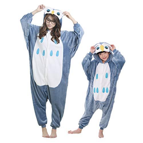 Debaijia Kinder-Pyjama aus Flanell/ Jumpsuit für Jungen und Mädchen, Warme Nachtwäsche, 3 bis 11Jahre Gr. 135(Hauteur recommandée: 144-158cm), Eule dunkelblau