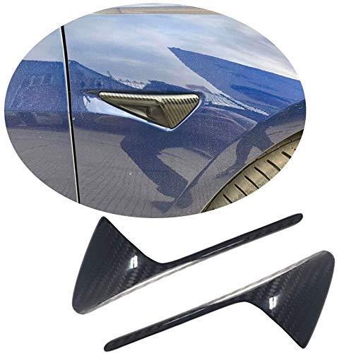 XBXDM La Funda Protectora De La Cámara Lateral Se Adapta A Tesla Model 3 Sedan 2016-2019 Fibra De Carbono Real CF Luz Lateral Delantera Barra De La Lámpara Accesorios De Decoración Exterior