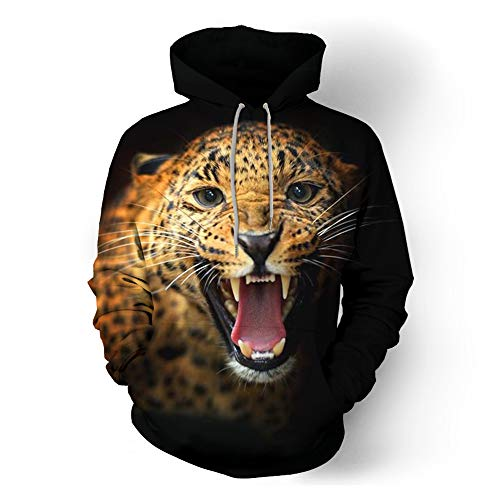 MIRANDA New Men's Casual 3D Animal Print Sudadera con Capucha y Cuello Redondo