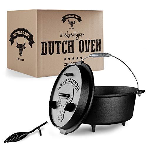 BUFFALO BBQ® Eingebrannter Dutch Oven – Holländerofen mit Füßen und Deckel – Extrem Feuerfester – Inklusive Deckelheber Gusseisentopf – [9] Liter Fassungsvermögen – Oudoor & Indoor geeignet (9L)