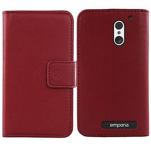 Dingshengk Flip Rot Echt Leder Tasche Hülle Für Emporia SMART.4/SMART.S4 5