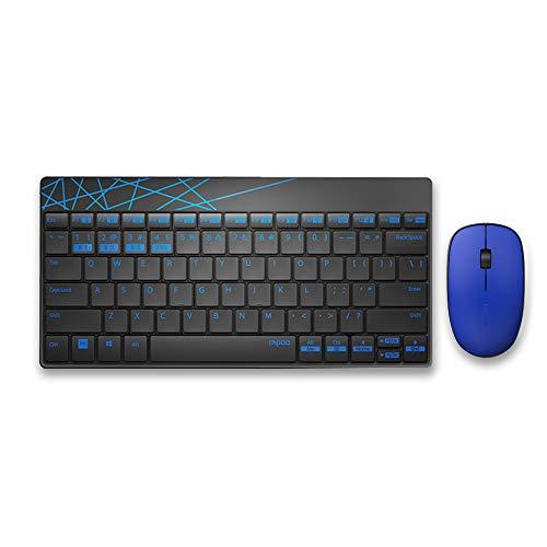 Rapoo 8000M kabelloses Tastatur-Maus-Set, Bluetooth und Wireless (2.4 GHz) via USB, kompakt, 1300 DPI HD-Sensor, DE-Layout QWERTZ, schwarz/blau