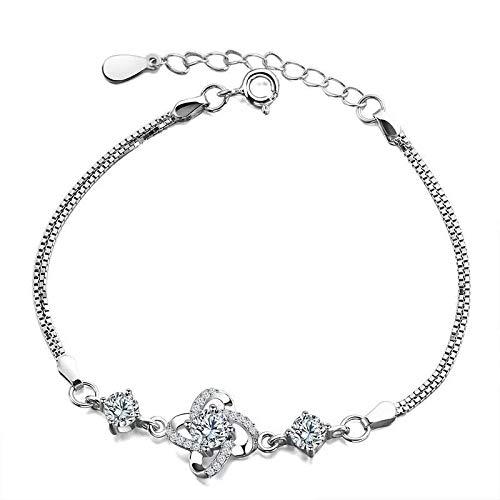 QSO Pulsera para mujer con diseño de fresa, cristal y piedra lunar