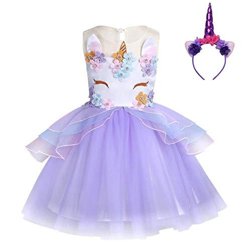 FONLAM Vestido de Fiesta Princesa Niña Bebé Disfraz de Unicornio Ceremonia Cumpleaños Vestido Infantil Flores Carnaval Niña Cosplay (Morado, 9-10 Años)